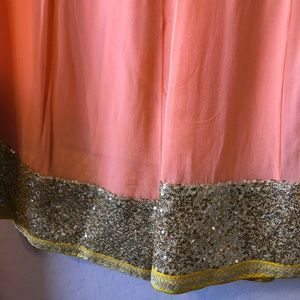 Gota Patti/Sequined Peach Sharara
